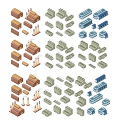 3d buildings set vector image