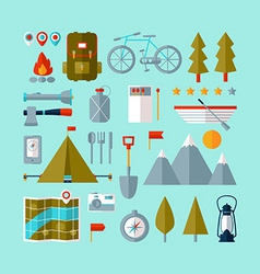 Camping equipment icons set flat design vector image