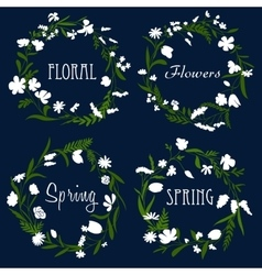 Wreaths with white flowers and herbs vector