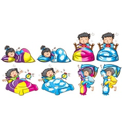 Bedtime for boy and girl vector