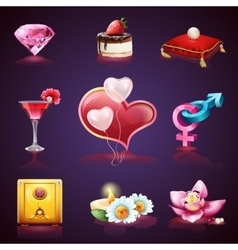 Valentines Day Set of romantic elements vector image