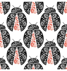 Pattern with bright decorative black and red close vector
