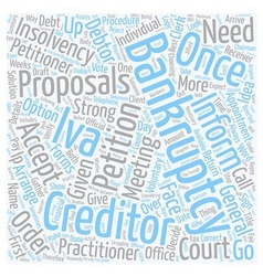 Bankruptcy or iva the procedure text background vector