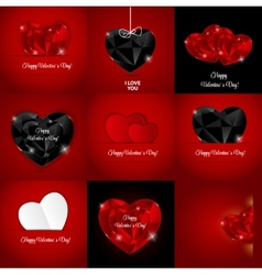 Big Set of Happy Valentines Day Card with Heart vector image