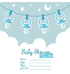 Blue Baby Shower Invitation with Pacifiers vector image vector image