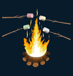 bonfire with marshmallow logs and fire vector image vector image