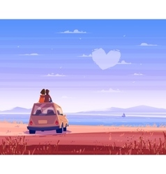Boy and girl look over the sea romantic day vector