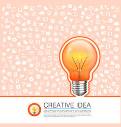 bulb idea with icons on the background vector image