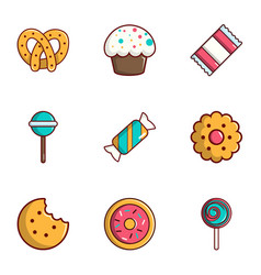Candy shop icons set flat style vector