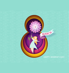 Card for 8 march womens day woman with flower vector