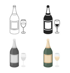 champagne icon in cartoon style isolated on white vector image