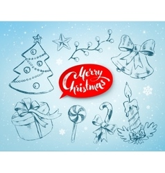 Christmas hand drawn line art vector