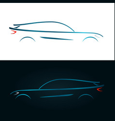 Concept design blue car silhouette vector