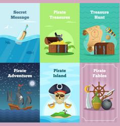 Different invitation cards of pirate theme vector