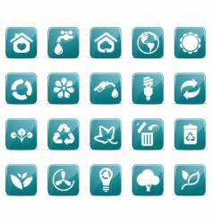 eco icons glossy vector image