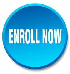 Enroll now blue round flat isolated push button vector