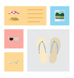 Flat beach set of spectacles deck chair vector