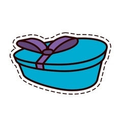 Gift box ribbon elegant present color cut line vector