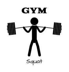 gym squat icon human symbol flat eps app vector image