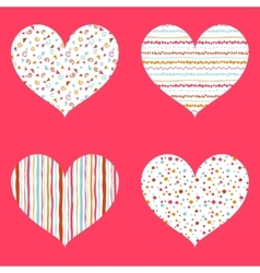 Hearts seamless pattern bright collection vector