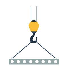 Icon of slab hanged on crane hook by rope slings vector