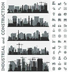 Industrial city skyline sets with icons vector