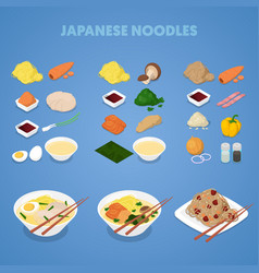 Japanese noodles asian thai chinese food vector