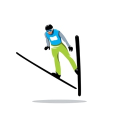 Jumping skier sign vector image