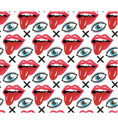 modern fashionable lips with tongue and eye vector image