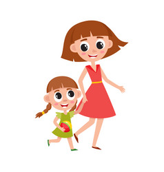 mother and daughter little girl walking with mom vector image vector image