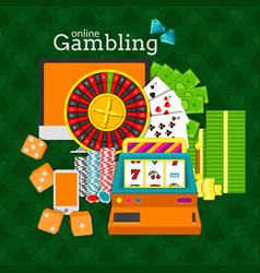 Online gambling slot machine vector