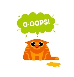 Red cat with ooops bubble vector