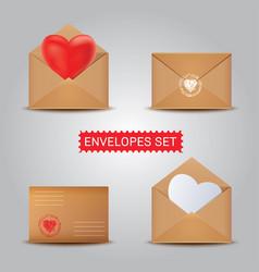 Set kraft envelopes open and closed envelope vector