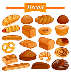 set of yummy assorted bread and bakery food item vector image vector image