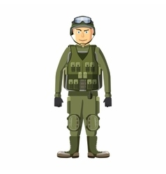 Soldier in body armor icon cartoon style vector