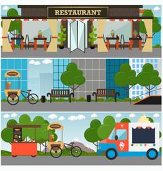Street food and drink establishment interior vector