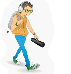 Student in a hurry vector image vector image