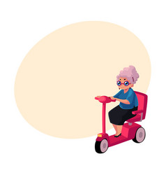 stylish old lady driving riding modern scooter vector image vector image