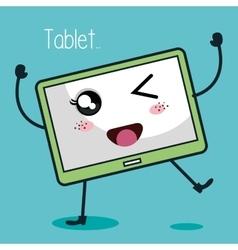 Tablet character kawaii style vector