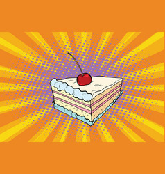 Tender cake with a cherry vector