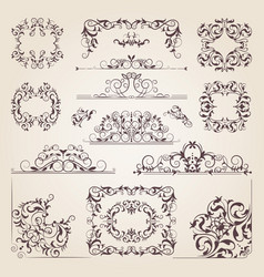 vintage old banners swirls corners and different vector image vector image