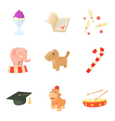 Young man icons set cartoon style vector
