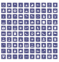 100 church icons set grunge sapphire vector