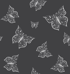 Butterfly seamless pattern ornamental hand drawn vector