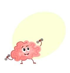 Funny concentration brain training with dumbbells vector