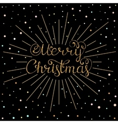 Christmas inscription with gold rays vector