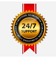 247 support gold sign label template vector