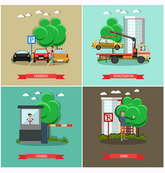 Set of car parking square posters in flat vector