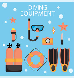 The are dive equipment icons includ vector