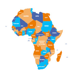 Multicolored political map of africa continent vector